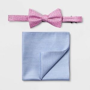 💕Bow Tie and Pocket Square Pink Blue